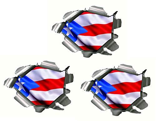 Three (3) BEST SELLER Puerto RicoFlag Bullet Holes 3D | Hard Hat Stickers - USA Welder Electrician Scaffolder Welding EkUnion Stickers