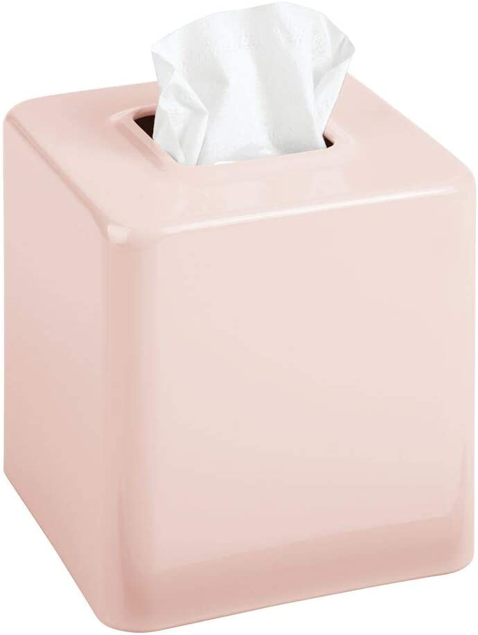 mDesign Modern Square Metal Paper Facial Tissue Box Cover Holder for Bathroom Vanity Countertops, Bedroom Dressers, Night Stands, Desks and Tables - Light Pink/Blush