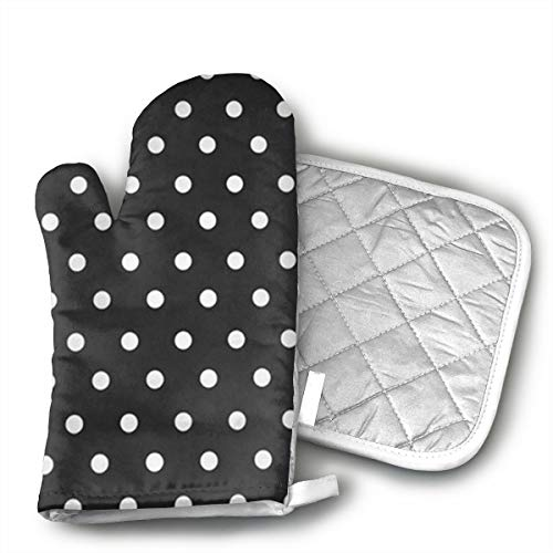 Niwaww Black and White Polka Dot Kitchen Oven Mitts Oven Gloves for BBQ Cooking Set Baking Grilling Barbecue Microwave ()