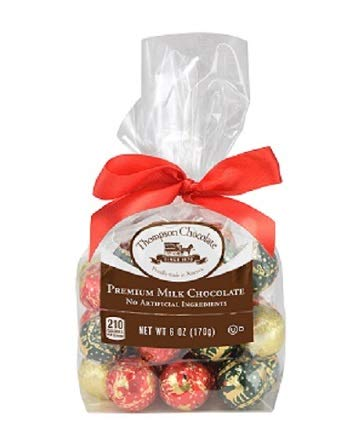 Thompson Milk Chocolate Christmas Balls Mix, 6 Oz Gift Bag made in New England