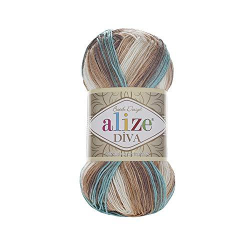 100% Microfiber Yarn Alize Diva Batik Silk Effect Thread Crochet Hand Knitting Turkish Yarn Art Lot of 4skn 400g 1532yd Color 4603