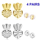 Magic Backs for Earrings & Earring Backs -2 Pairs Hypoallergenic Earing Backs Secure – for Ear Lobe Support + 2 Pairs Soft Silicone Earring Backs(Sterling Silver & 18K Gold Plated)-Crown