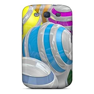 Anti-scratch And Shatterproof 3d Colorful Spheres Phone Cases For Galaxy S3/ High Quality Tpu Cases