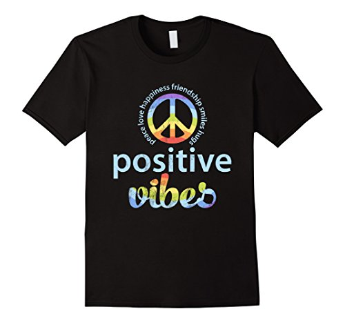 Positive Vibes Rainbow Peace Sign Hippie Vintage (Live Free Peace Sign)
