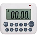 Evany Digital Kitchen Timer Magnetic Countdown Up Cooking Timer Clock with Magnet Back and Clip, Loud Alarm, Large Display Minutes and Seconds Directly Input-White