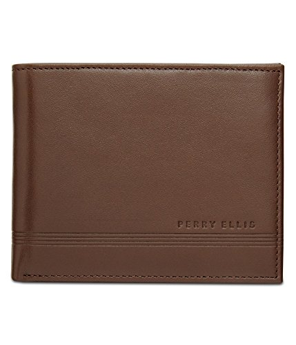 Perry Ellis Mens Keychain Set Bifold Wallet brn200 One Size