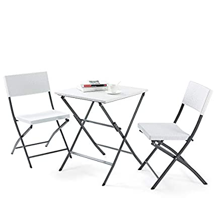TAVR PE Rattan Patio Bistro Set,3 Piece Set of Outdoor Foldable Garden Table and Chairs, All Weather Resistant Resin Wicker,White,CH1005