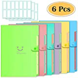 6 Pcs Expanding File Folders with 5 Pockets Plastic A4 Letter Size Document Organizer and 168 Pcs File Folder Labels for School and Office