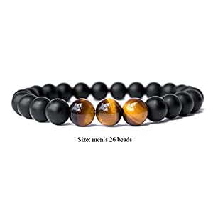 SX Commerce Real Natural Matte Black Onyx Stone Bead Bracelet with Unique Tiger Eyes – Fashion Jewelry for Unisex-Adult Size 8mm 26grain