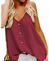 Women's Button Down V Neck Strappy Tank Tops Sexy Loose Cami Casual Sleeveless Shirts Blouses Red XL