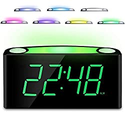 Desk Alarm Clock with 12/24 H, 7-Color Night Light, 7 Digital LED Display with Large Digits, Full Brightness Dimmer, 2 USB Charging Port, AC Powered & Battery Backup Settings for Bedroom, Kids