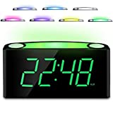 Desk Alarm Clock with 12/24 H, 7-Color Night Light, 7\