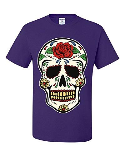 Sugar Skull Calavera T-Shirt Dia de Los Muertos Day Of The Dead Tee Shirt Purple (Dia De Los Muertos Men)