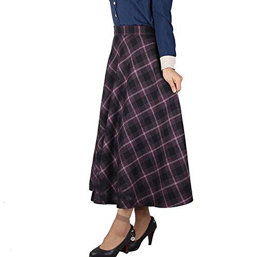89c5021f2bf2 Scothen Damen Vintage hoher Taille Flared röcke knielange Kleider Retro  Hohe Taille A-Linie Rock Thicken Karierten Rock Faltenröcke Wollrock  Tellerrock ...