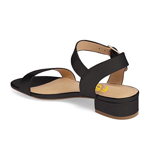 Fsj Femmes Été Décontracté Bas Bloc Empilé Talons Sandales Bout Ouvert Boucle Sangle Chaussures Taille 4-15 Nous Noir Mat