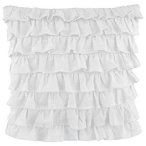 Bedding Attire 600 Thread Count White Solid Multi Layer Ruffle Pillow Shams Set of 2 Piece 100% Egyptian Cotton 26