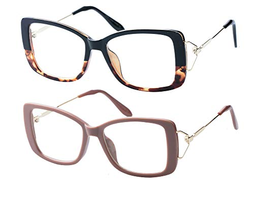 432c6de0eb SOOLALA Ladies Lightweight Large Frame Eyeglass Fashion Reading Glass