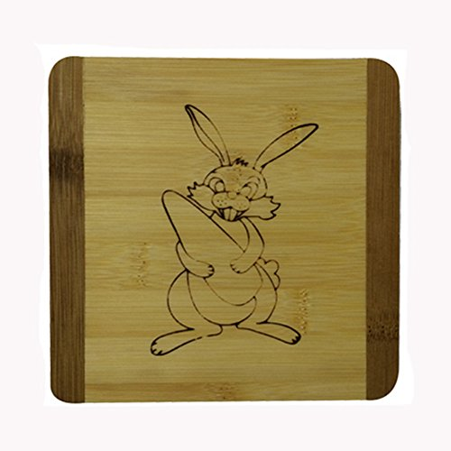 Creative Moso Bamboo Place Mat/ Cup Mat/ Pot Holder, Rabbit, Set of 4