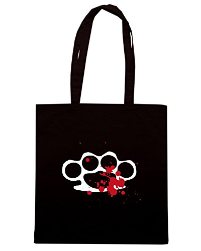 T-Shirtshock - Bolsa para la compra TM0466 pugno di ferro Negro
