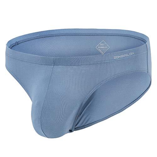 (Zonbailon Bulge Pouch Underwear Briefs for Men Sexy Low Rise Plus Size Men's Undies Blue XXX-Large 48