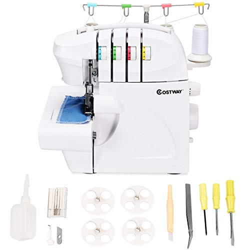 Costway Serger, Overlock Sewing Machine for professional finish, with 2 Needle 2-3-4 Thread Capability and Differential Feed, including Cover Stitch, Auto Tension, and Presser Foot Pressure Adjustment
