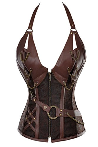 [FIYOTE Women 14 Steel Bone Steampunk Leather Vintage Bustiers Corsets (L, Brown)] (Brown Leather Corset)