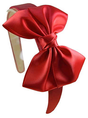 (Girls Satin BOW Arch Headband By Funny Girl Designs (RED))