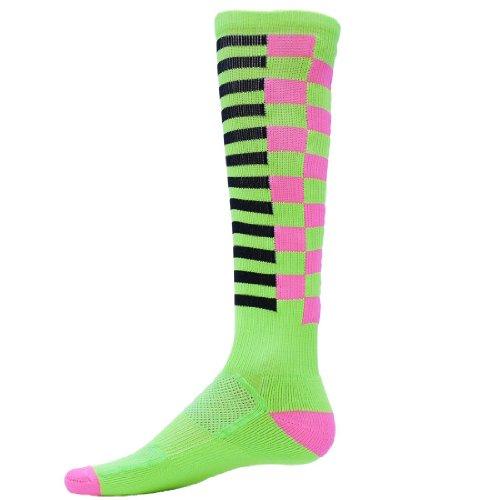 Red Lion Grids Zany Sock ( Fl Green / Fl Pink / Black - Medium )
