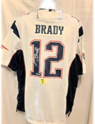 08ab818c0 Tom Brady New England Patriots Signed Autograph Nike Replica White Jersey   1 Tristar Authentic