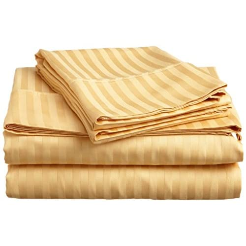New Laxlinen 450 Thread Count 100% Egyptian Cotton Super Quality 1PC Flat Sheet(Top Sheet) Twin Bed/Single Bed Size, Gold Stripe supplier