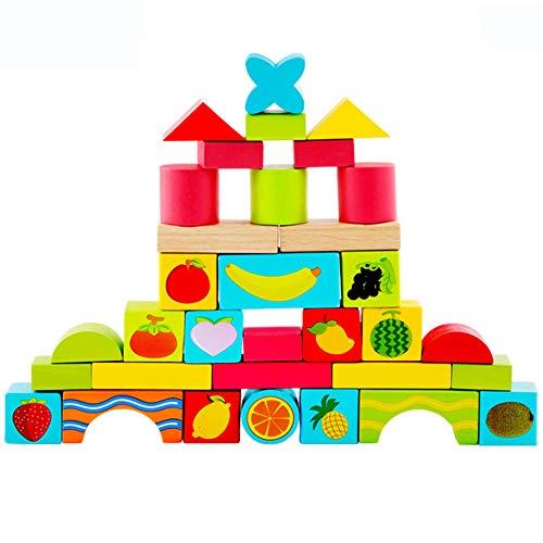 Wooden Bricks Set for Toddler,Building and Stacking Blocks Set Shape Sorter Preschool Geometry Stacking Game For Kids Educational Toys ()