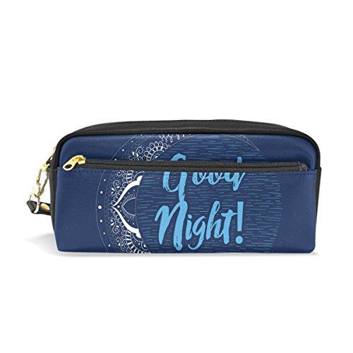 COOSUN Buena noche de luna portátil de cuero de la PU caja de lápiz de la pluma de la Escuela Bolsas bolsa de la caja fija de gran capacidad Maquillaje Bolsa cosmética Grande Multicolor