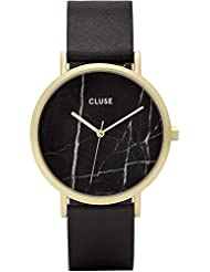 Cluse Womens La Roche 38mm Black Leather Band Metal Case Quartz Analog Watch CL40004