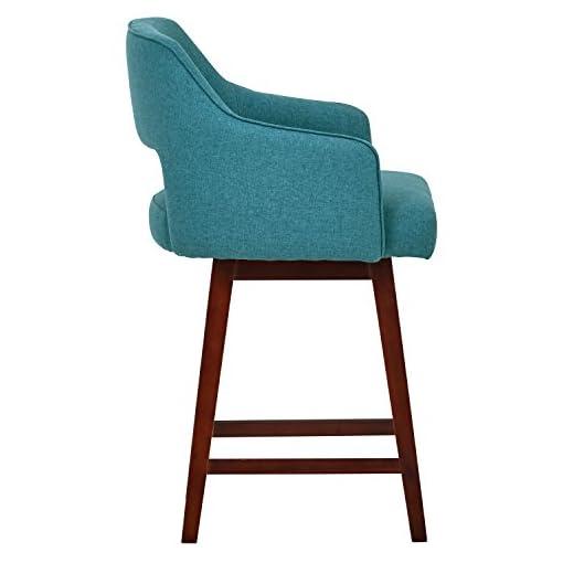 Kitchen Amazon Brand – Rivet Malida Mid-Century Modern Open Back Swivel Kitchen Counter Height Stool, 37″H, Aqua Blue modern barstools