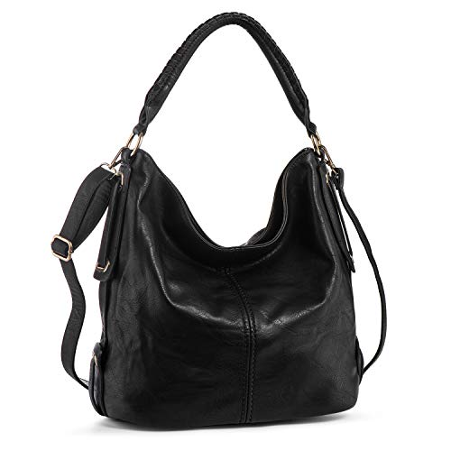 PU Leather Shoulder Bag for Women Hobo Handbag Large Capacity Crossbody Bags Top Handle Tote Purse Black + Katloo Nail Clipper