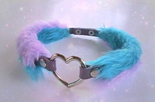 Fluffy Choker Fuzzy Heart Necklace PU Leather Handmade Collar Furry Chocker Kawaii Lilac Turquoise Faux Fur Punk Pastel Goth Grunge Harajuku
