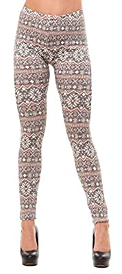 Just One Women's Extra Soft Christmas Fair Isle Print Winter Warm Leggings (Also Plus Size)
