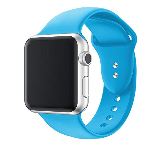 iZonze Sport Band for Apple Watch Band, Silicone Strap Replacement Wrist Strap for iWatch Nike+Series 4/3/2/1 (Blue, 42mm/44mm M/L)