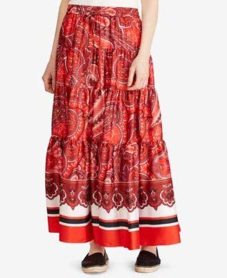 LAUREN RALPH LAUREN Womens Sateen Printed Maxi Skirt Red -
