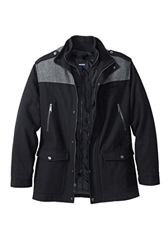 KingSize Men's Big & Tall Wool Combat Jacket, Black Tall-3Xl - Big Collar Jacket