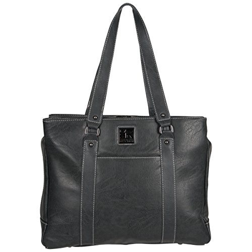 "Kenneth Cole Reaction Women's Faux Leather Triple Compartment Top Zip 15.0"" Computer Business Laptop Tote, Charcoal, One (Triple Zip Tote)"