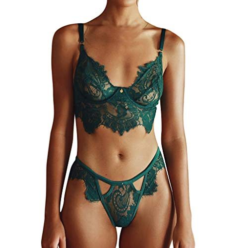 Women's Lingerie Intimates Underwear Bodysuit Sleepwear Lace Nightwear Green ()