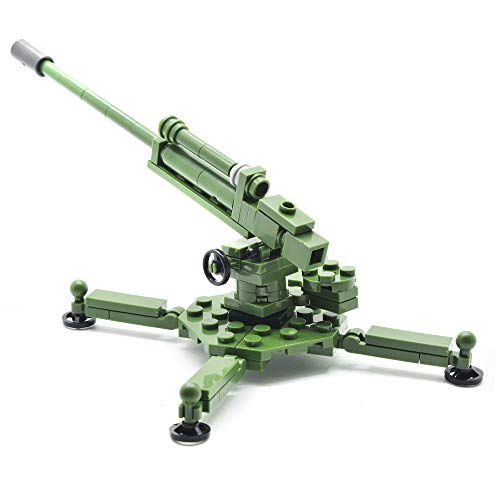 koolfigure Custom WWII Military Army Weapon Building Bricks Set, WW2 Howitzer, Cannon, Light Machine Gun Building Blocks (4. 1939 52-K 85mm Anti-Aircraft Gun)