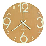 Cheap Genbaly Luminous Wall Clock, 12 inch Wooden Silent Non-Ticking Kitchen Wall Clocks with Night Lights for Indoor/Outdoor Living Room Bedroom Decor Battery Operated (Wood Color)