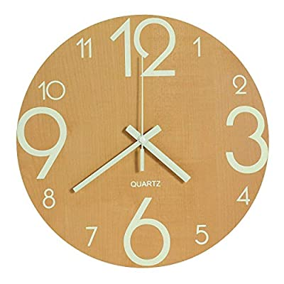 Genbaly Luminous Wall Clock, 12 inch Wooden Silent Non-Ticking Kitchen Wall Clocks with Night Lights for Indoor/Outdoor Living Room Bedroom Decor Battery Operated (Wood Color) - Readable wall clock: super quiet & non-ticking at night with night light function, large enough for easily to see and read 12 inch diameter round frame without glass. Minimalist wall clock: Simple and Modern Design will look beautiful in any room. It will match all of your décor in your home and office. Wooden face with luminous Arabic number looks sharp even accross your room. Wall clock glowing in the dark: Night lights function use,the large stereoscopic numeral have night light asks for absorbing enough light energy during the day, Usually 4-8 hours. - wall-clocks, living-room-decor, living-room - 41lOW50ZRkL. SS400  -