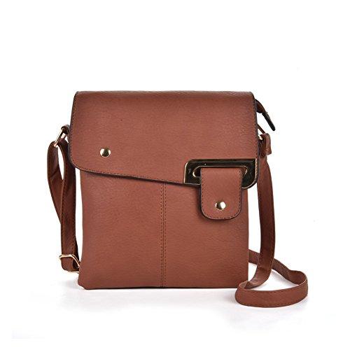 GLITZALL Bolso bandolera pequeño bolso de cuero de la escuela Messenger Messenger Bag Marrón