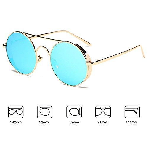 f6c3832b8f ... hibote Homme Femme Lunettes de soleil Coating Mirrored Rond Metal Sun  Glasses Or Cadre/Blue ...