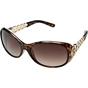 GUESS Women's Acetate Oval Rectangular Sunglasses, to-34, 62 mm