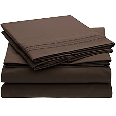 Ideal Linens Bed Sheet Set - 1800 Double Brushed Microfiber Bedding - 4 Piece (Queen, Brown)