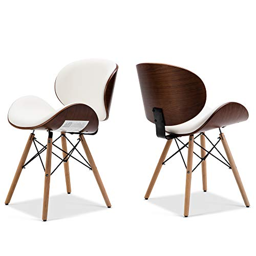 Belleze Set of 2 Mid-Century Living Room Kitchen Dining Room Curved Back Seat Walnut Accent Dining Chair, White